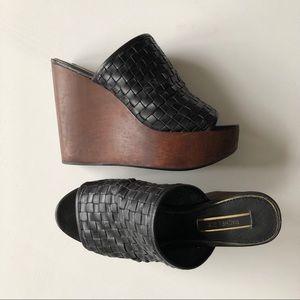 Rachel Zoe Wooden Platform Wedge Shoes